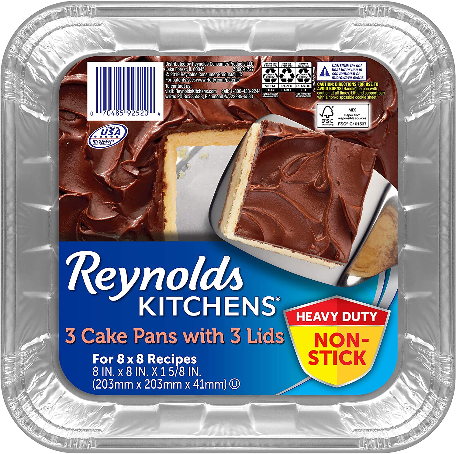 Reynolds Disposable Aluminum Cake Pans with Lids, 8x8 inches, 2 Packages of 3 Pans (6 Total)