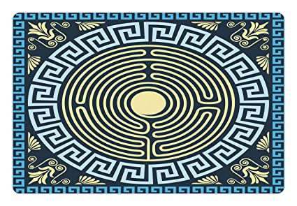 Amazon Ambesonne Greek Key Pet Mat For Food And Water Yellow Adorable Labyrinth Pattern