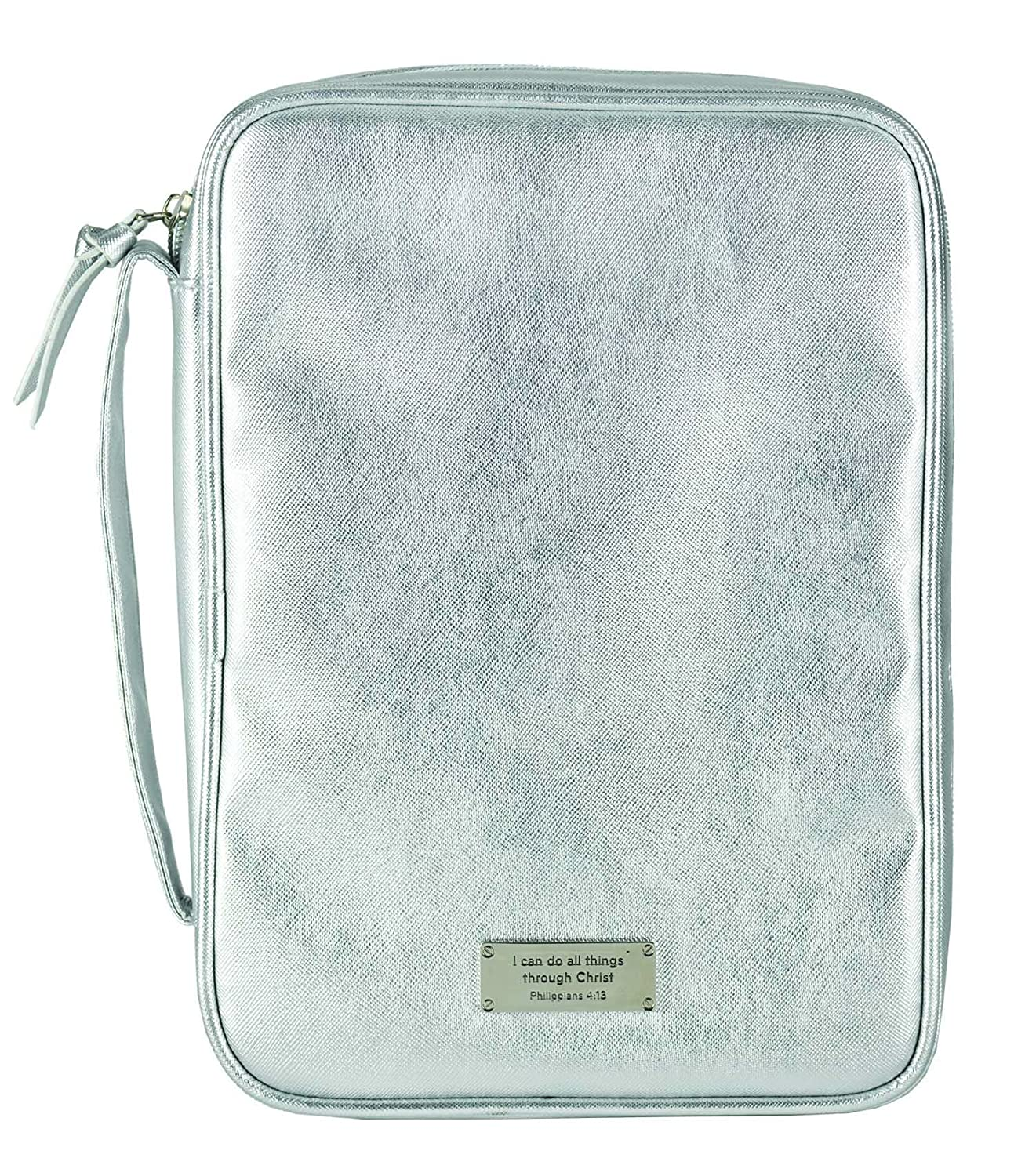 I Can Do All Things Silver Tone Metallic Extra Large Bible Cover Case with Handle Dicksons SG/_B0779DMR57/_US
