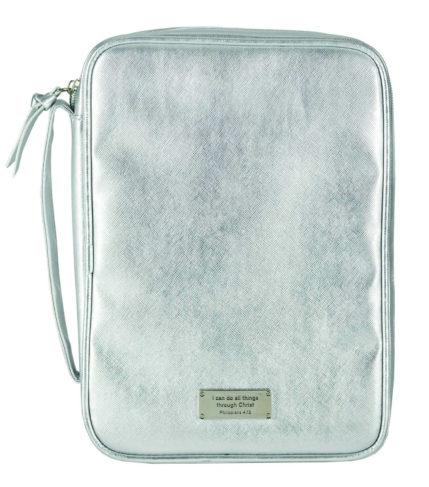 I Can Do All Things Silver Tone Metallic Extra Large Bible Cover Case with Handle