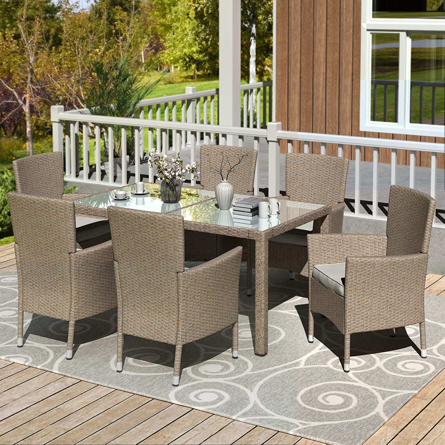 Harper & Bright Designs 7 Piece Patio Furniture Dining Set Outdoor Garden Wicker Rattan Dining Table Chairs Conversation Set with White Cushions (Beige-Brown)