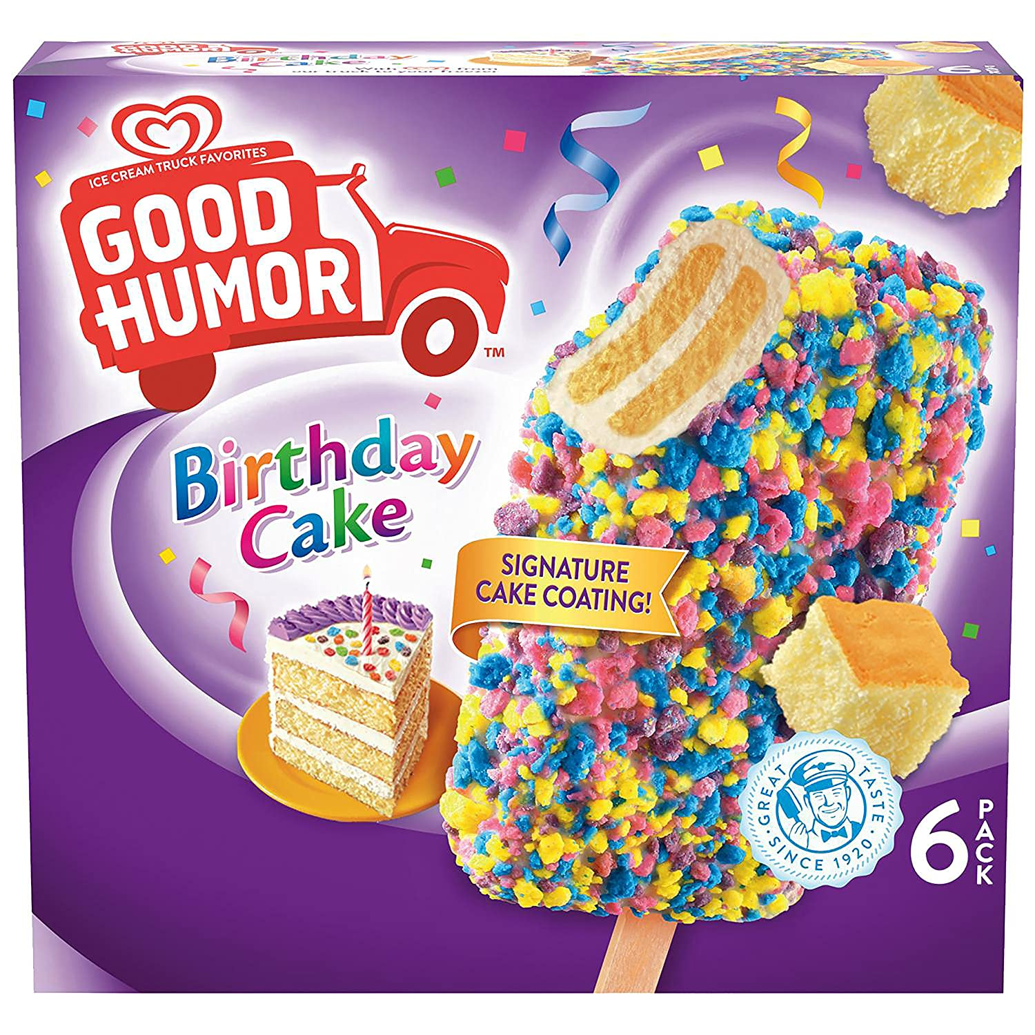 Good Humor Ice Cream Frozen Desserts Bar Birthday Cake 6 Count