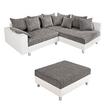 Design Ecksofa Mit Hocker Loft Weiss Strukturstoff Grau Federkern