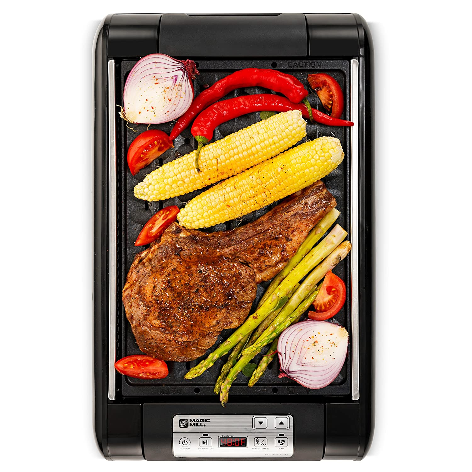 Magic-Mill Electric Smokeless Grill and Griddle Pan for Indoor BBQ in Your kitchen