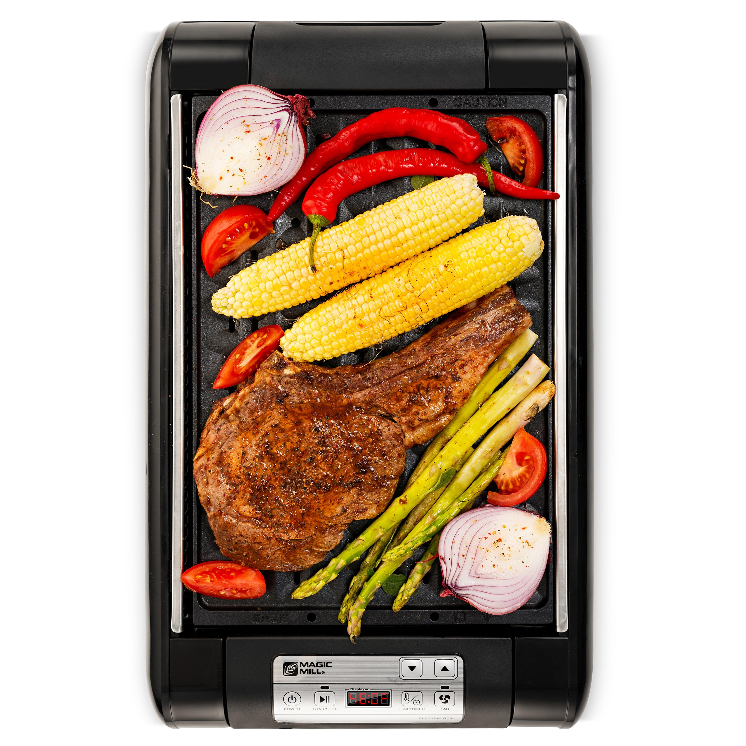 Magic-Mill Electric Smokeless Grill and Griddle Pan for Indoor BBQ in Your kitchen - Digital Temperature Control - Cooking Timer - Built in Fan for Smokeless Grilling by magic mill