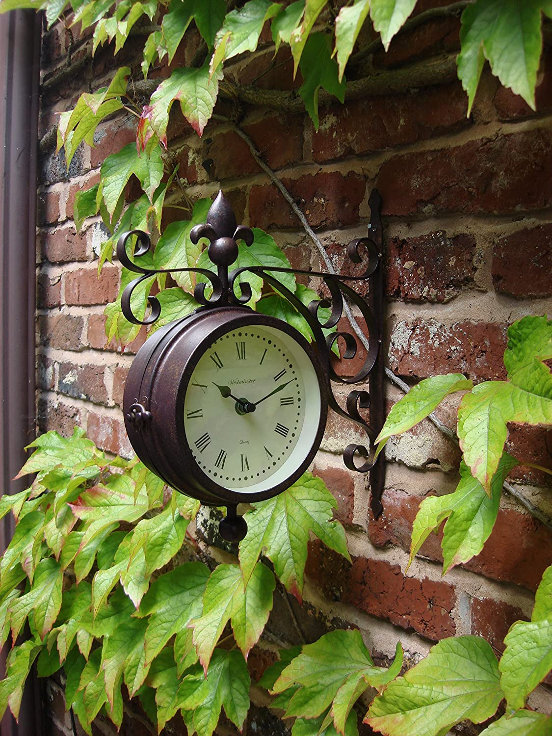 Outdoor indoor Clock double sided Thermometer Garden Wall Station Dia 14.5cm Home and Garden Products Ltd