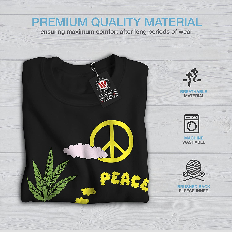 wellcoda Peace Leaf 42 Weed Mens Sweatshirt Camping Casual Jumper