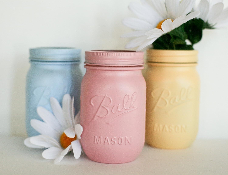 Amazon.com: Painted Mason Jars - Spring Colors - Wedding Centerpiece ...