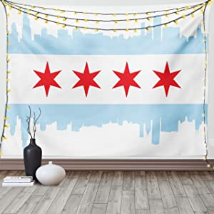 Ambesonne Chicago Skyline Tapestry, City of Chicago Flag with High Rise Buildings Scenery National, Wide Wall Hanging for Bedroom Living Room Dorm, 60