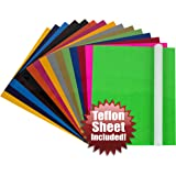 "Angel Crafts 12"" x 10"" Heat Transfer Vinyl Sheets (16 PACK) w/ Teflon Sheet for T Shirts, Hats, Clothing - Best Iron On HTV Vinyl for Silhouette Cameo, Cricut or Heat Press Machine Tool"