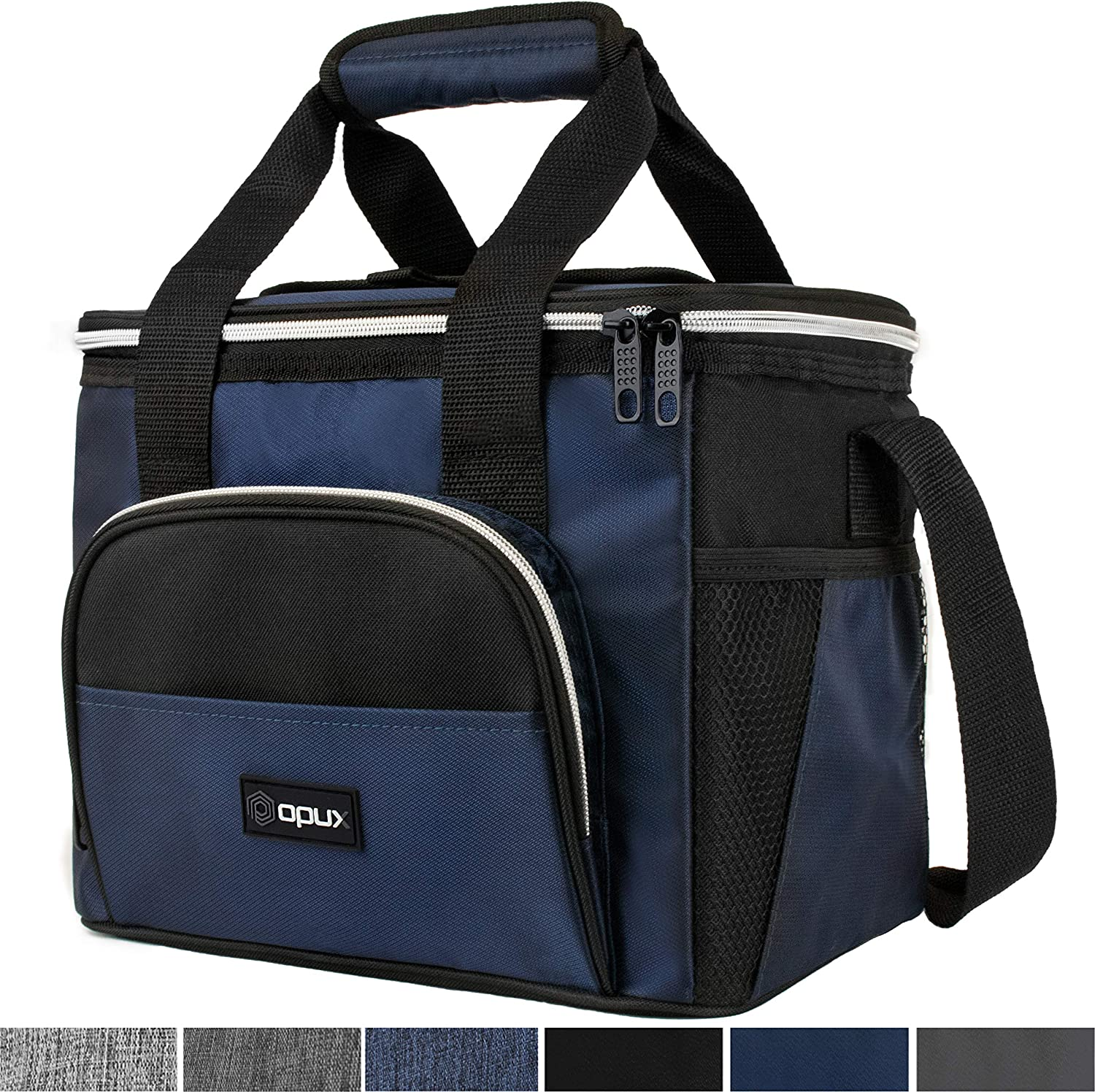 OPUX Insulated Collapsible Soft Cooler 9 Quart | Lunch Bag for Men, Small Travel Cooler for Camping, Family, BBQ, Picnic, Beach, Car, Soft-Sided Leakproof Lunch Box for Work | Fits 16 Cans (Navy)