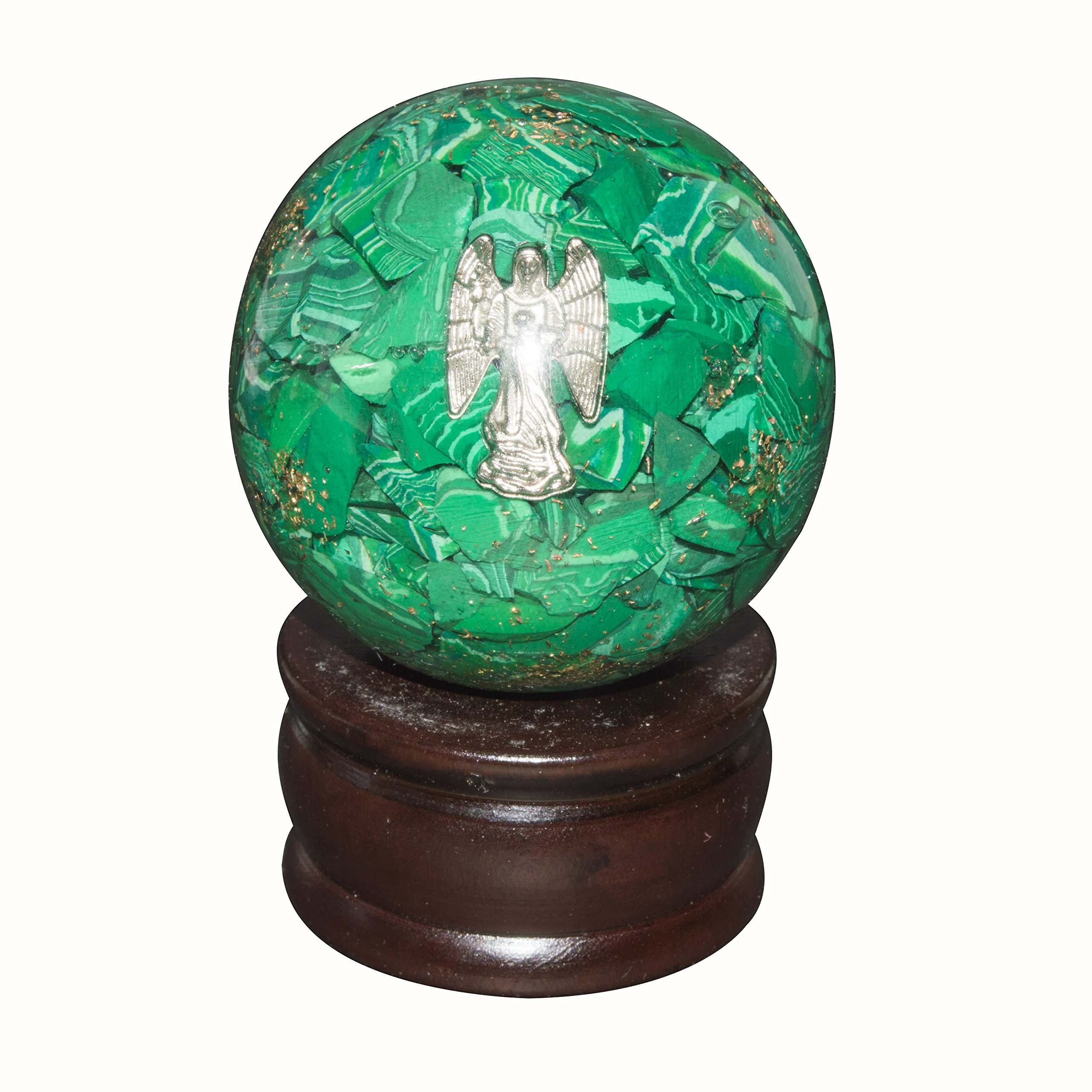 Crocon Green Malachite Orgone Sphere Ball Angel Symbol Energy Generator For Reiki Healing Chakra Balancing & EMF Protection Size: 50-60mm