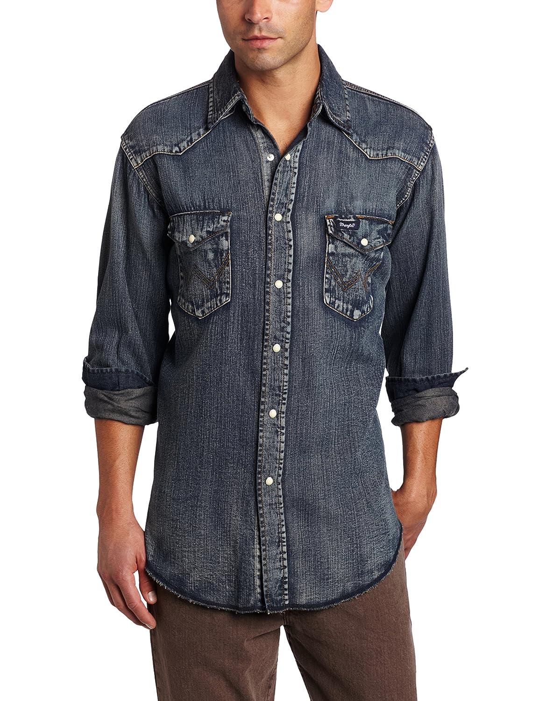 Wrangler(ラングラー)メンズ オーセンティックなカウボーイカット ウエスタンワークシャツ 長袖 B008JNOPOC S|アンティークブルー(Antique Blue) アンティークブルー(Antique Blue) S