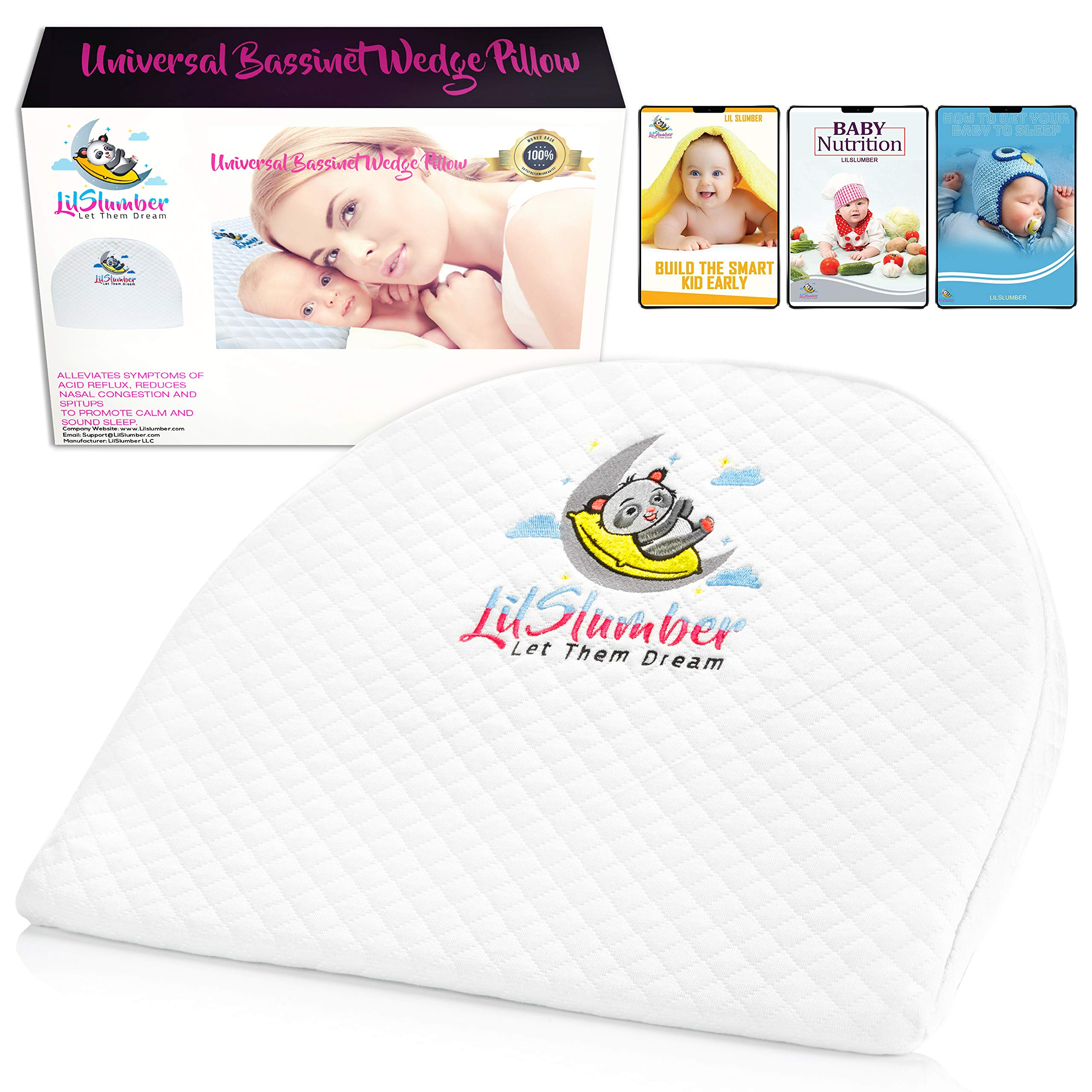 LilSlumber Baby Bassinet and Crib Reflux Wedge Pillow | Infant Sleep Positioner for GERD and Nasal Congestion Relief | Premium Hypoallergenic Cotton and Waterproof Covers | 3 Parenting EBooks by LilSlumber