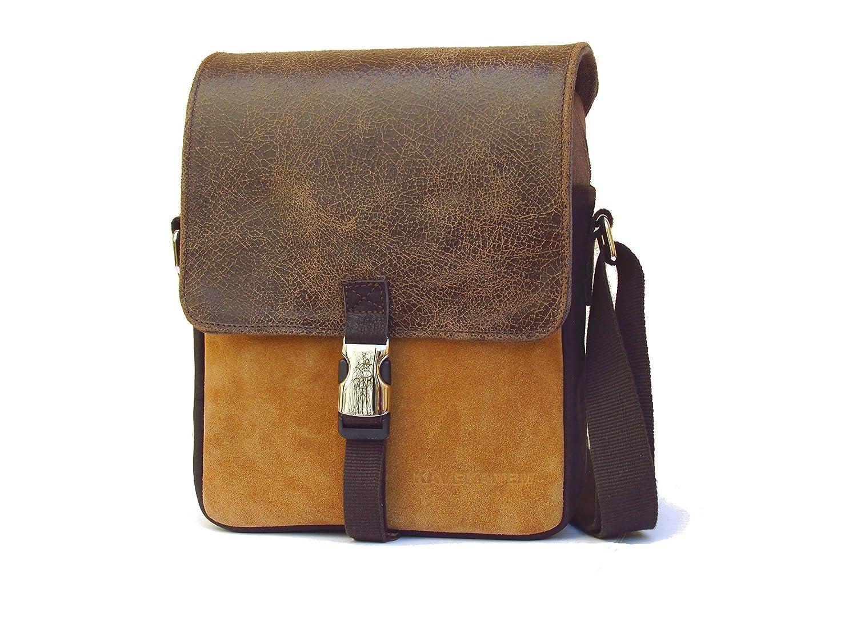 Bolso bandolera para hombre de cuero y tela. Bolso para hombre de cuero y algodón. Bolso messenger hecho con materiales orgánicos.