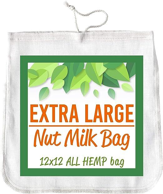 Bolsa de leche de nueces 12 x 12 HEMP colador de alimentos de ...
