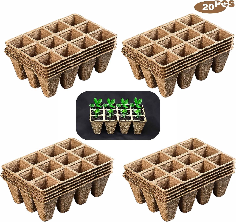 munloo 240 Macetas Biodegradables, Macetas Degradables, Macetas Cuadradas, 20 Piezas de 12 Rejillas para Plantar Plantas, Frutas y Verduras en el Huerto