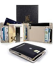 51f70278c1 Portafoglio uomo VERA PELLE, protezione RFID, porta carte di credito,  portamonete, clip