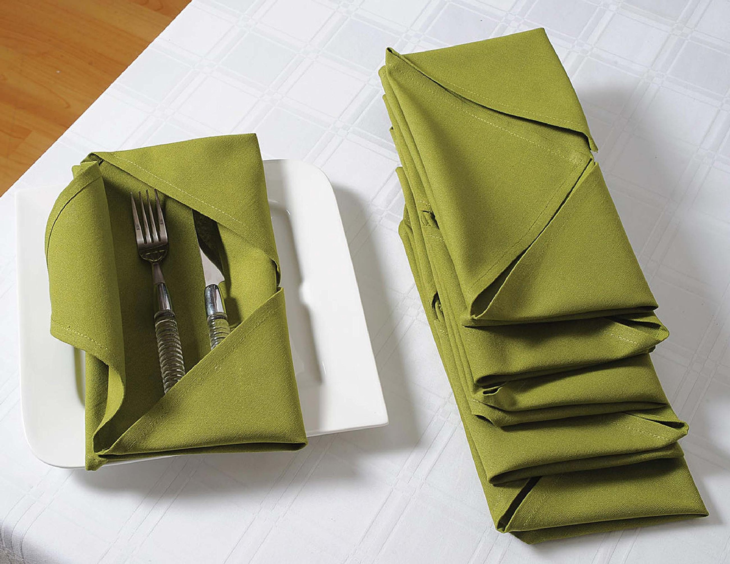 ShalinIndia Cloth Dinner Napkins - 24'' x 24'' - Cotton - Green - Set of 40 - Perfect for Weddings & Dinner Parties by ShalinIndia