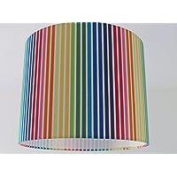 Handmade Multi Coloured Rainbow Candy Stripe Fabric Drum Lampshade Lightshade