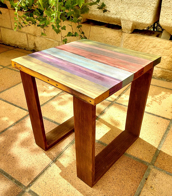 Mesa auxiliar de colores de madera reciclada de palet, hecho ...