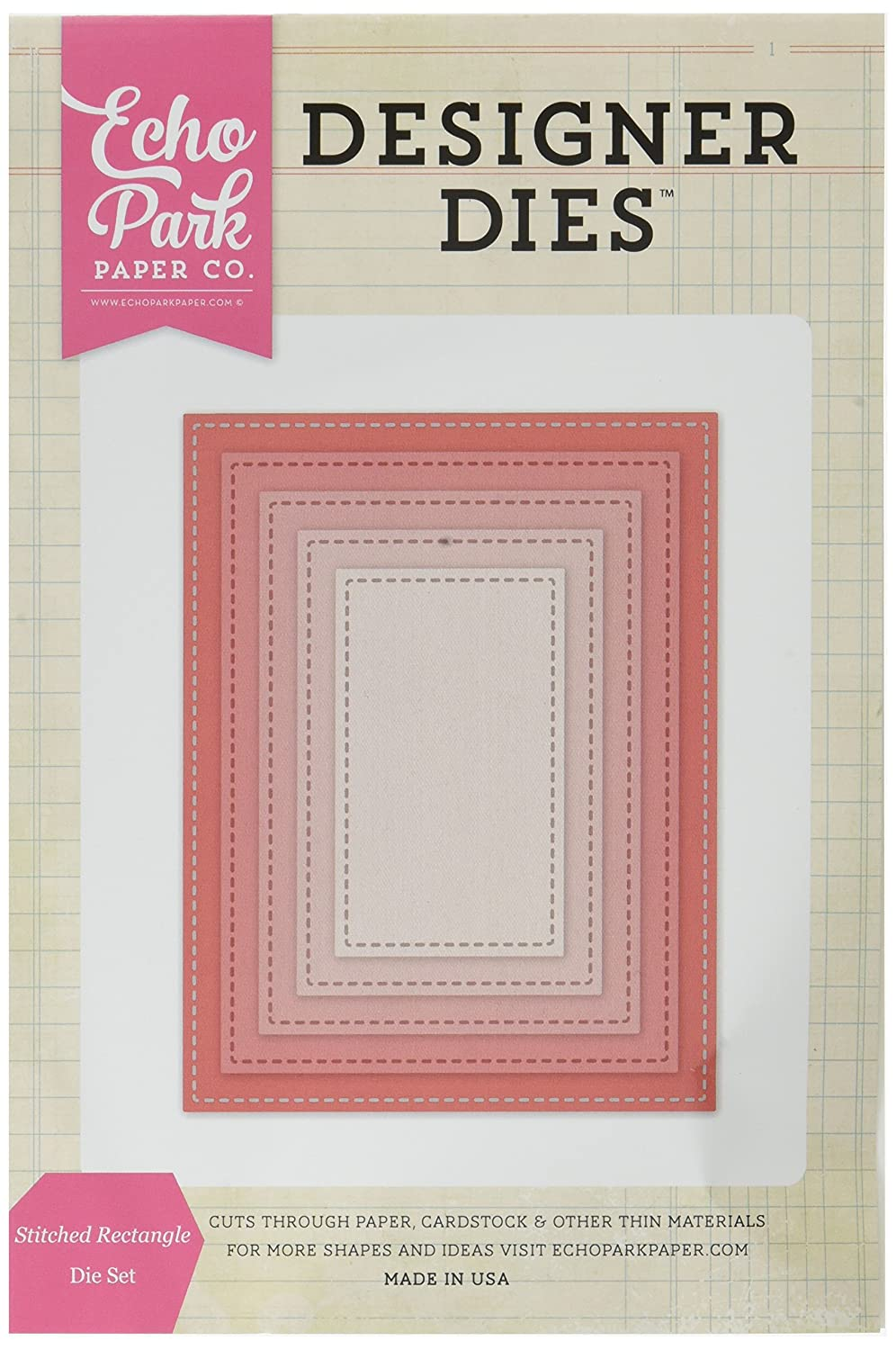 Echo Park Paper Company EPPDIE607 Stitched Rectangle Nesting Die Set
