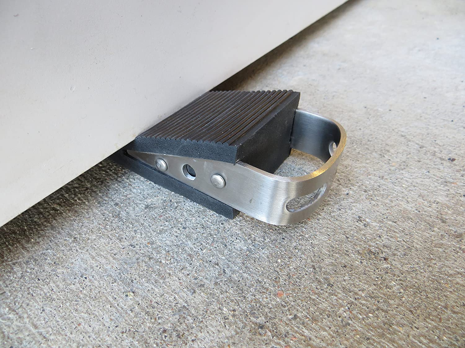 Door Stop Low Profile Wedge Shaped Rubber Door Stopper with Brushed Stainless Steel Handle and Hook Accessory by Everything is Play