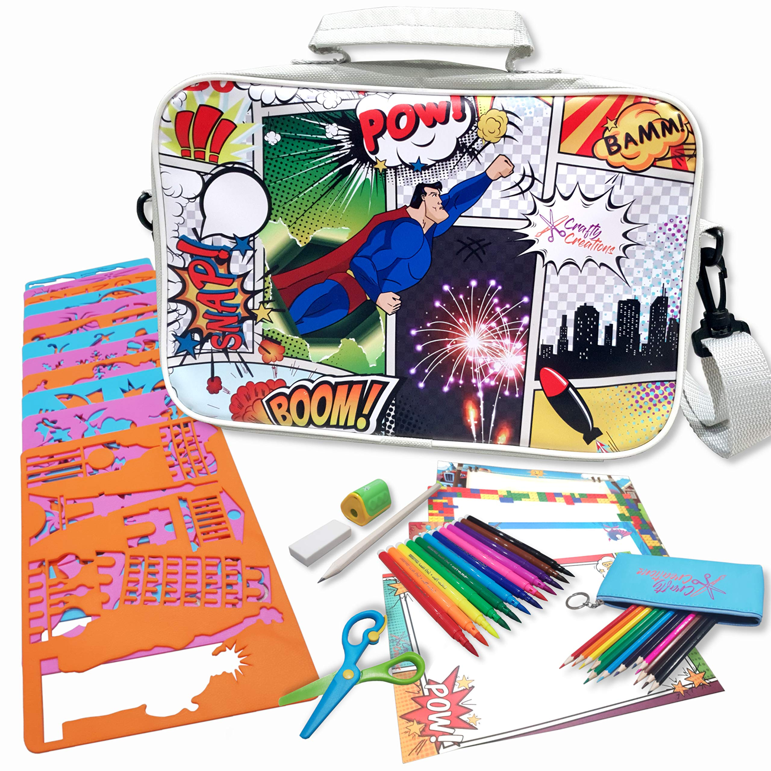 Crafty Creations Super Stencil Set - Arts and Craft Creativity Kit for Boys and Girls - Unique Trendy Comic Book Super Hero Shoulder Travel Bag - Perfect Educational Activity Gift for Kids Child