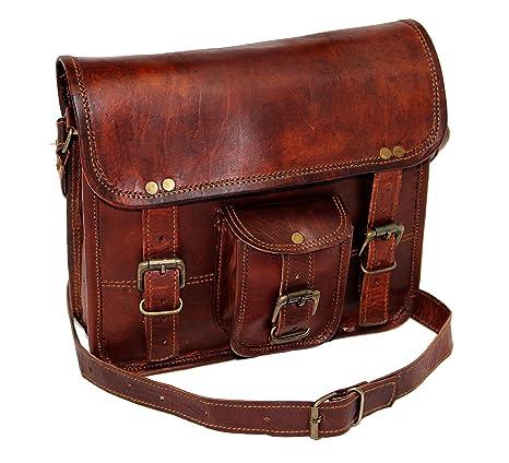 28 cm Hecha a mano Marron elegante Vintage Bolso de cuero del mensajero para portátiles cada