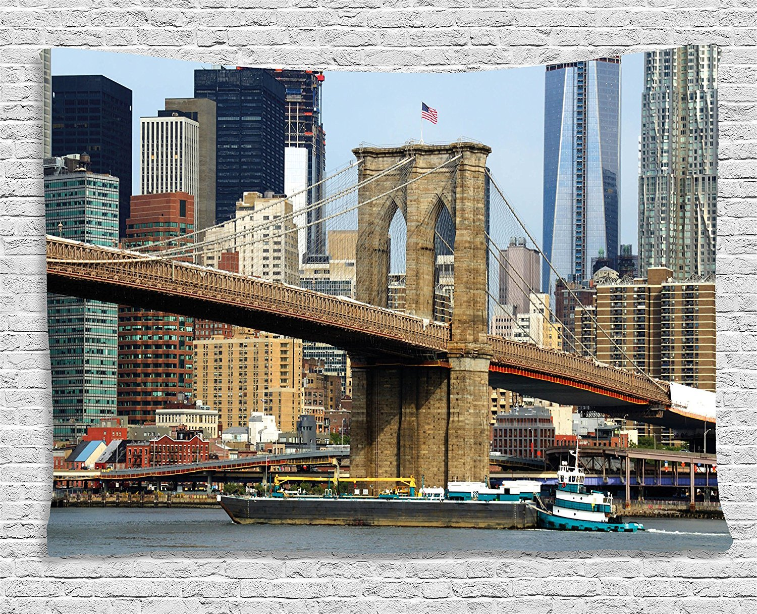asddcdfdd Urban Tapestry, Skyline of Brooklyn New York USA Cityscape Bridge Buildings and River Coastal Scenery, Wall Hanging for Bedroom Living Room Dorm, 60 W X 40 L Inches, Multicolor