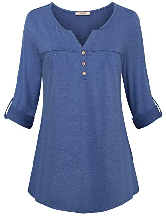 50e1a9dd22d8 Timeson Women s Henley V Neck Tunics Shirt 3 4 Sleeve Pleated Front ...