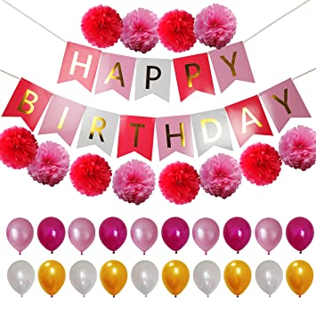 Happy Birthday Party Decorations For Girls Women Pink And Gold