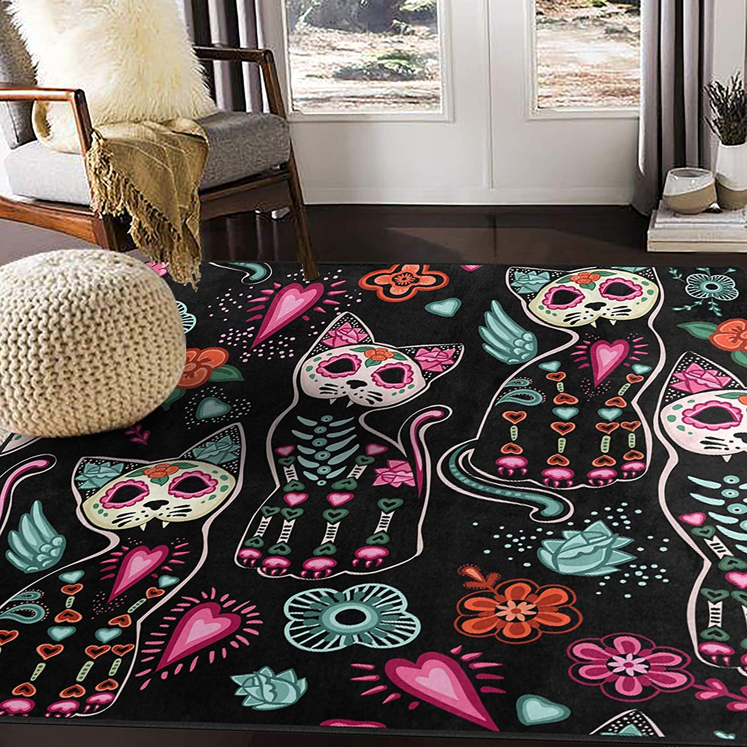 Amazon Com Alaza Floral Day Of The Dead Cat Kitten Sugar Skull Area Rug Rugs For Living Room Bedroom 5 3 X4 Furniture Decor