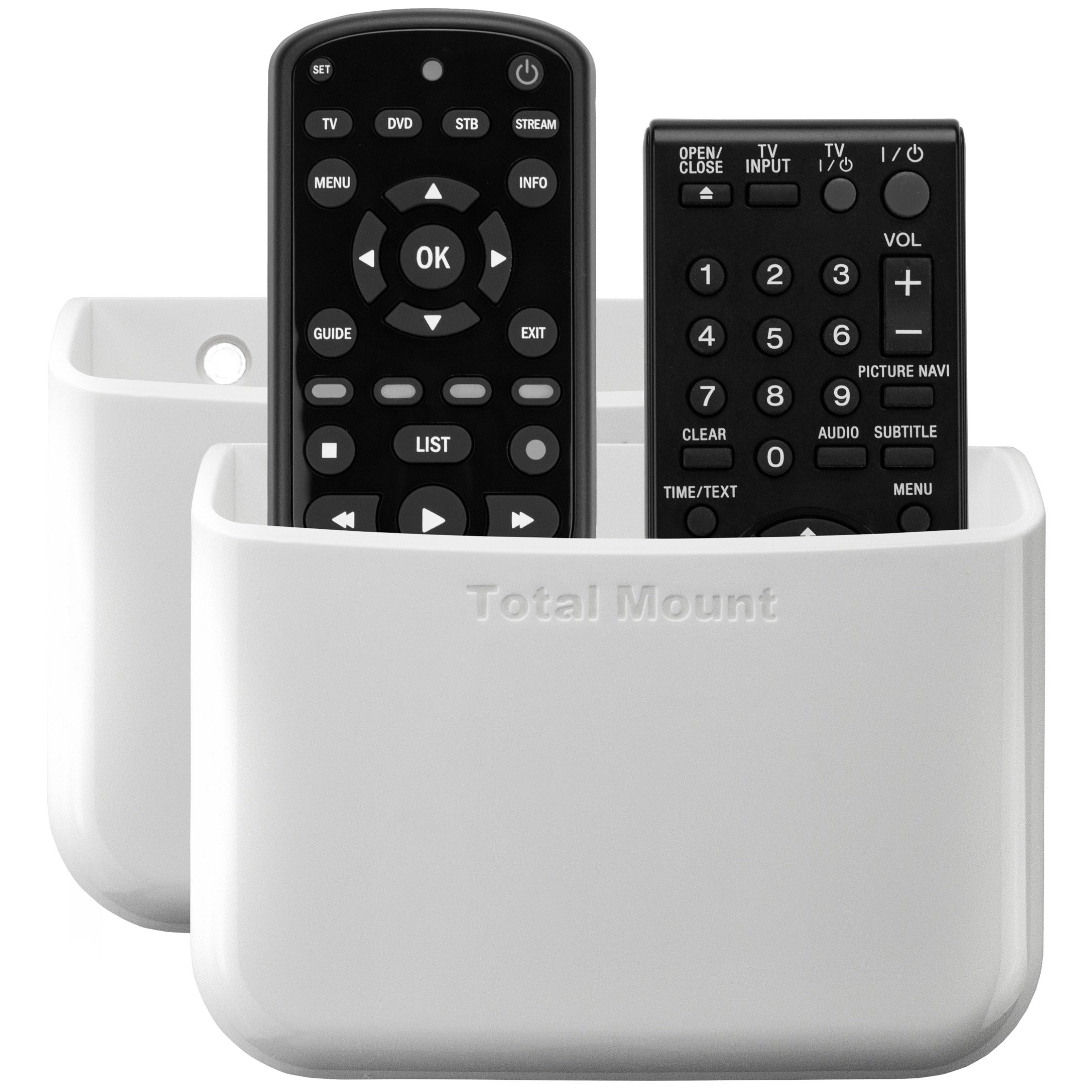 TotalMount Universal Remote Holders (Quantity 2 - Two remotes per holder - White)