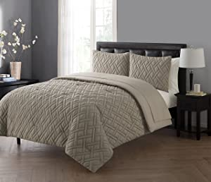 VCNY Home Lattice 7 Piece Bed-In-A-Bag Comforter Set, Full, Taupe