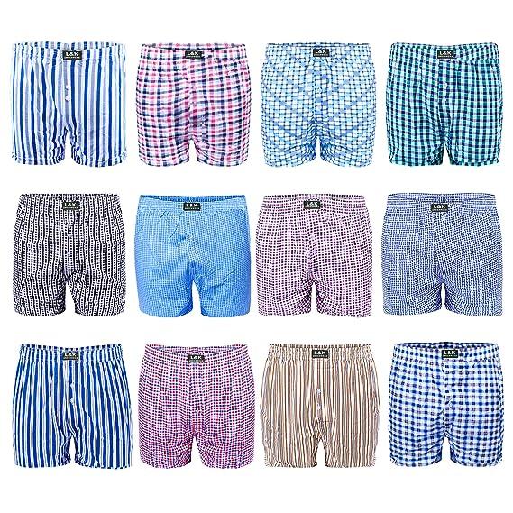 5e2fdda4615262 L&K 12 Pack Men's Woven Boxer Shorts Loose Fit Boxer Underwear 95% Cotton  Set 1403