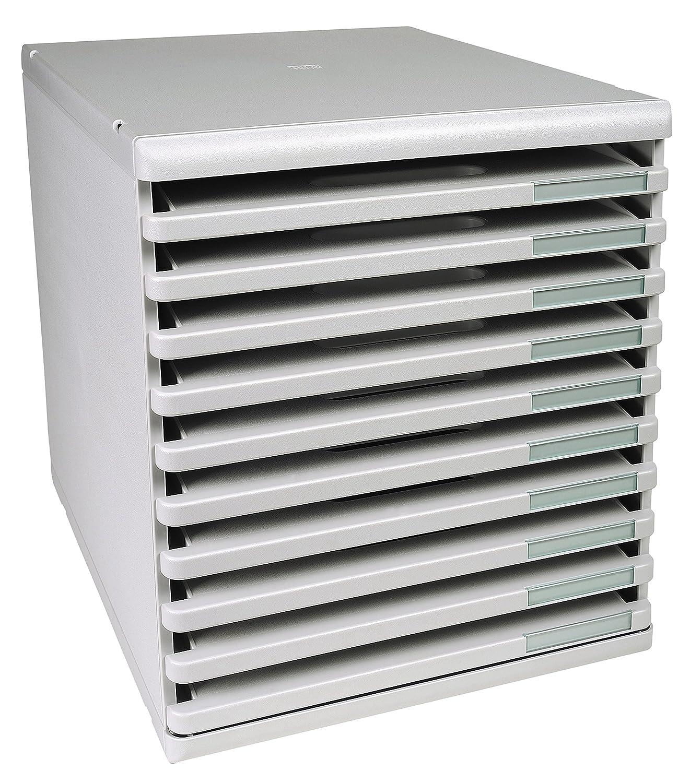 Exacompta Modulo - Mueble archivador con 10 cajones (tamaño A4+), color gris perla 303040D