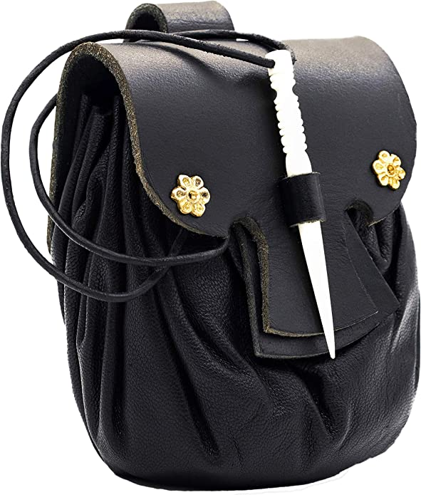 Mythrojan Medieval Viking Leather Belt Pouch LARP Renaissance Waist Bag