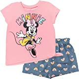 Disney Minnie Mouse Short Sleeve Fashion Tie Knot T-Shirt and Shorts Set