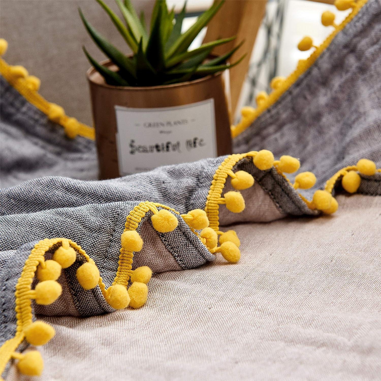 Erwachsene Bio-Musselin-Baumwolldecke f/ür Couch Sofa 4-lagige atmungsaktive Decke f/ür alle Jahreszeiten