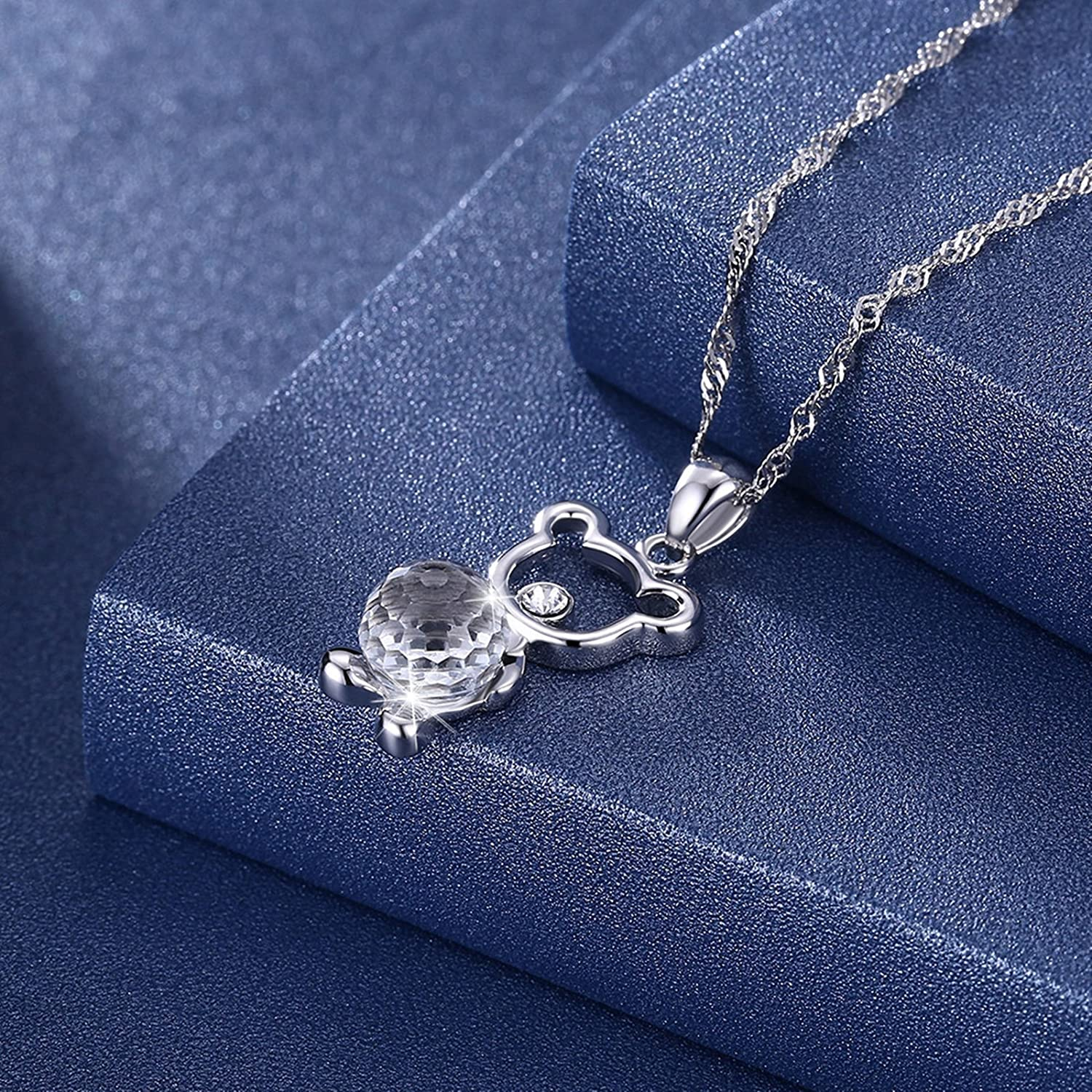 KnSam Silver Chains Jewelry Necklace for Women 925 Bear Holding Austrian Crystal