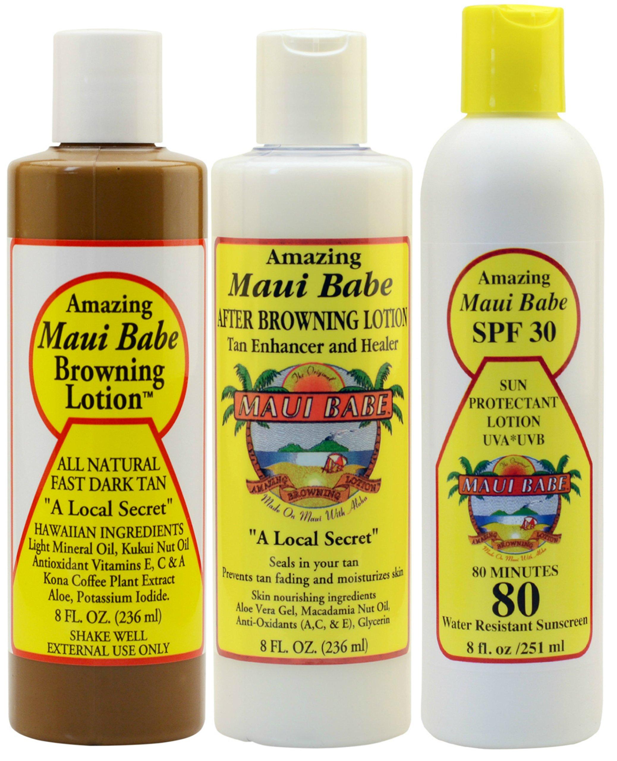 Maui Babe Variety Beach Pack (Browning Lotion 8 oz, After Browning Lotion 8 oz, and SPF 30 Sunblock 8 oz) by Maui Babe