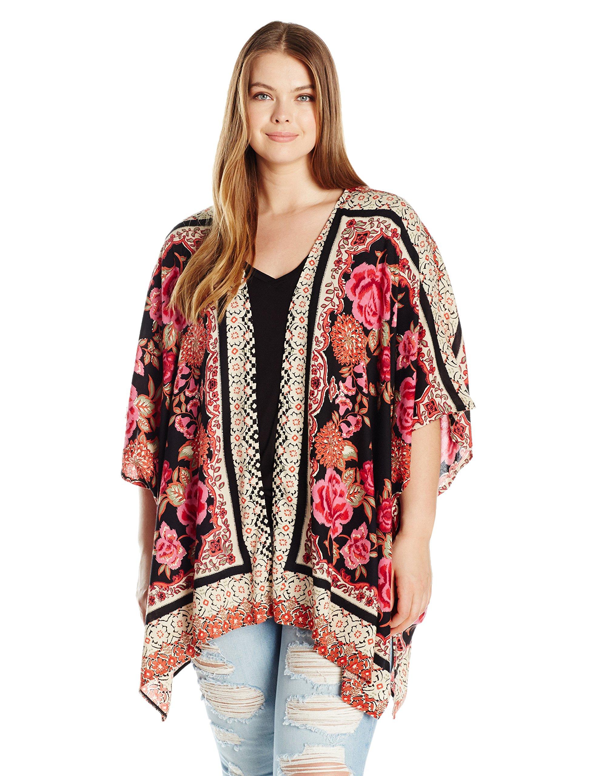 Angie Women's Plus Size Black Printed Kimono, Black/Red, 2X