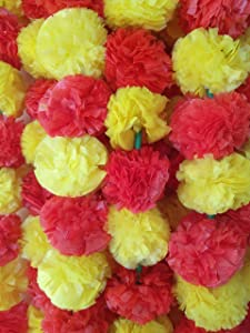 DECORATION CRAFT Pack of 5 Artificial Red and Yellow Marigold Flower Garlands 5 Feet Long, for Parties, Indian Weddings, Indian Theme Decorations, Home Decoration, Photo Prop, Diwali, Indian Festival