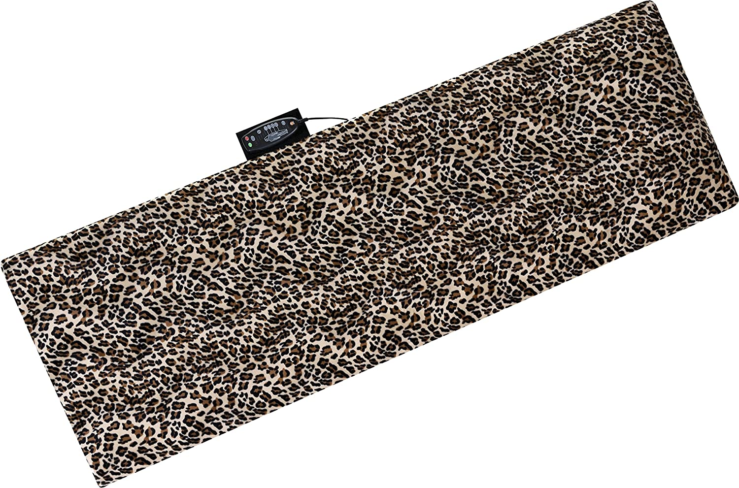 Relaxzen 10-Motor Massage Plush Mat with Lumbar Heat and Removable Cover and Pillow, Leopard