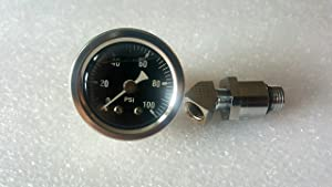 100 PSI Oil Pressure Gauge with Adapter Fitting for Shovelhead & Big Twin EVO