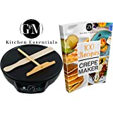 "Professional Crepe Maker Machine by G&M Kitchen Essentials – Non-Stick 12"" Electric Pancake Griddle –Adjustable Temperature Dial – BONUS 100 RECIPE E-COOKBOOK, Batter Spreader & Wooden Spatula"
