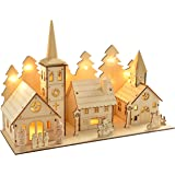 WeRChristmas Pre-Lit Wooden Church and Village Scene Illuminated with 12 Warm White LED Lights, 35 cm - Multi-Colour