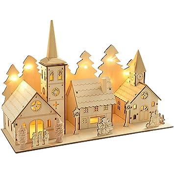 village de noel en bois WeRChristmas 35 cm en bois pré illuminé et scène de l'église de  village de noel en bois