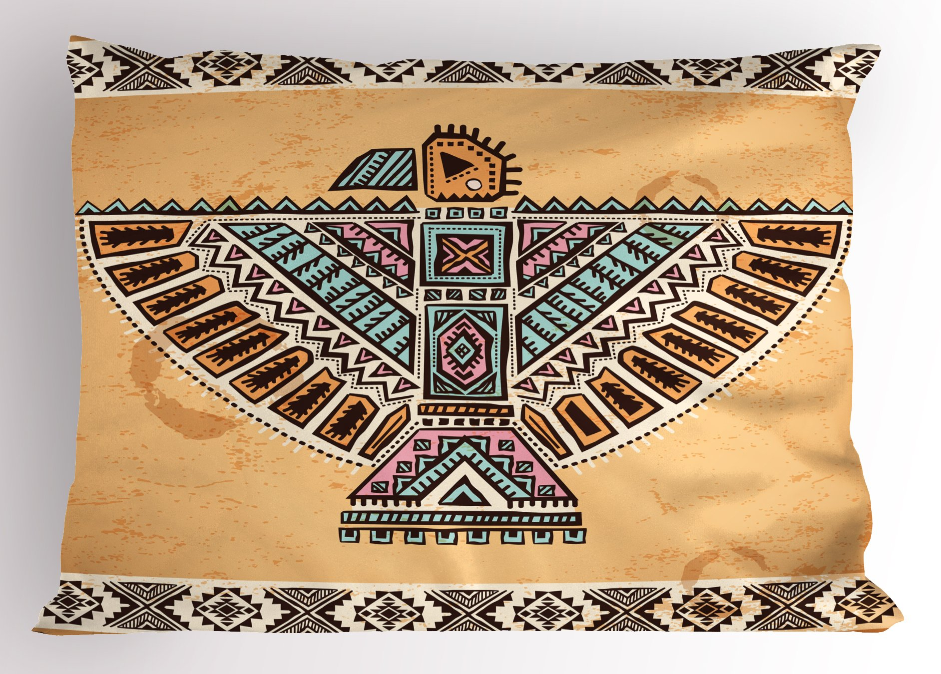Lunarable Native American Pillow Sham, Vintage Cultural Art Theme Ancient Native American Animal Symbol Totem, Decorative Standard Size Printed Pillowcase, 26 X 20 inches, Multicolor